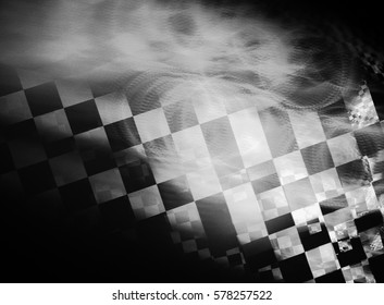 Unusual abstract background, stylized similar to the checkered flag. With beautiful reflections of light. For the design in racing cars, competition, rally, speed, competition, championship.