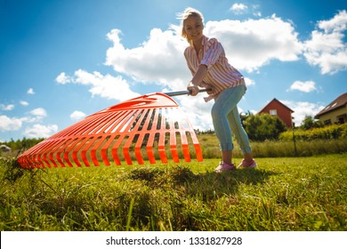 Unusual angle of woman raking leaves using rake. Person taking care of garden house yard grass. Agricultural, gardening equipment concept.