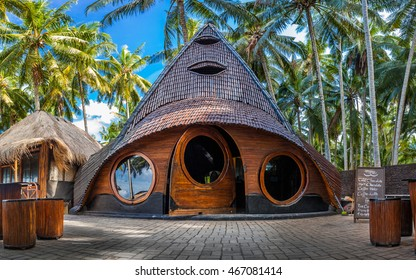 Unusual Bamboo House from natural wood tree on the tropical island Bali / Charlie chocolate factory / Bali, Indonesia