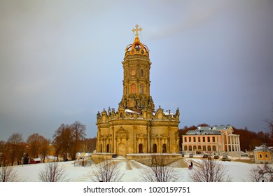 An unusual Christian church in the Moscow region.Church of Our Lady of the Sign (Znamenskaya church) in Dubrovitsy. Podolsk district. Russia Winter landscape.