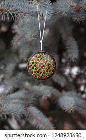 Unusual Christmas tree decoration bauble. New Year 2019 greeting card background.