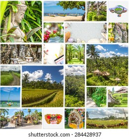 unusual collage of bali on white ceramic mosaic tile, various themes used