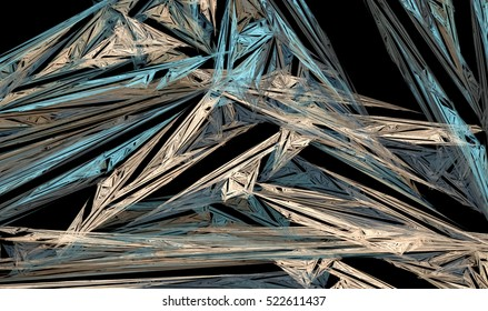 An unusual and dramatic abstract background. Texture - futuristic geometric pattern with metallic luster with an interesting perspective