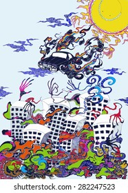 unusual drawing abstraction car over the city
