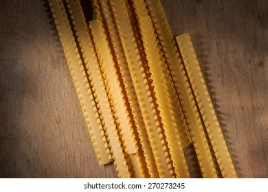 unusual dry pasta on the wooden table