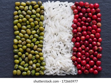Unusual Italy flag made of food and condiments