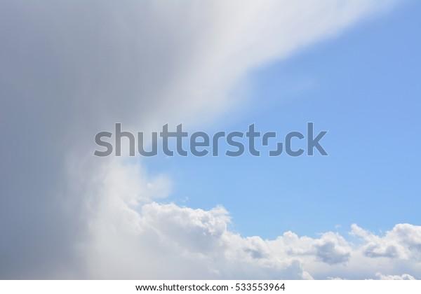 unusual landscape: a bright sky comes a dark cloud, nature, background, wallpaper,