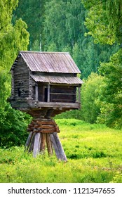 Unusual old wooden house, saving from flooding in the museum of wooden architecture in Kostroma, Russia.