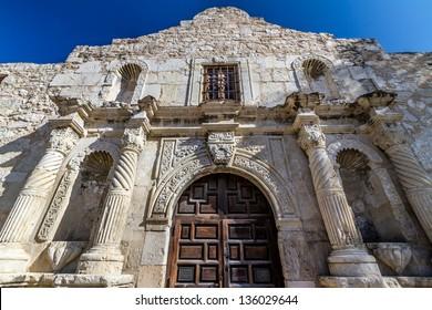 Unusual Perspective of the Historic Alamo, San Antonio, Texas.  Taken Dec. 2012.