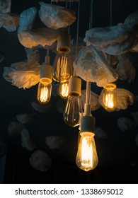 Unusual, retro, eye catching light bulbs and origami roses making a unique interior design
