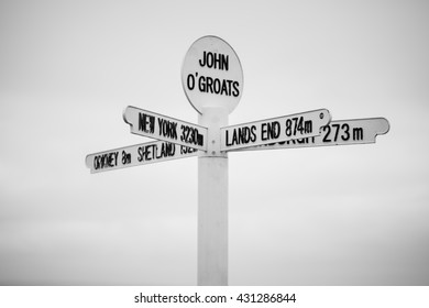 Unusual road sign post in John O'Groats Scotland