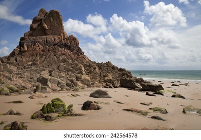 The unusual rock formations at Beauport Bay, Jersey, Channel Islands, Great Britain