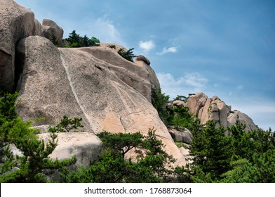 Unusual rock formations on Mount Lao in Qingdao China shandong province sunny day.