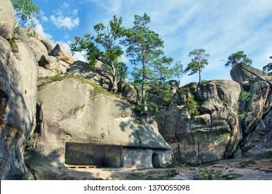 Unusual rock outcrops in  nature reserve. Dovbush rocks, Ivano-Frankivsk region. Horizontal outdoors shot.