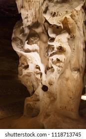 Unusual shapes in Cango Caves in Oudtshoorn, Little Karoo in South Africa