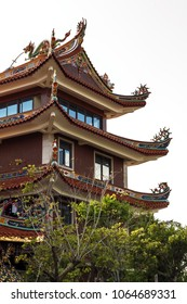 An unusual temple in a public park in China. Beautiful pagoda in a Chinese city in the south of the country. Chinese Temple Pagoda