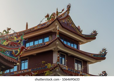 An unusual temple in a public park in China. Chinese Temple Pagoda