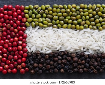 Unusual United Arab Emirates flag made of food and condiments
