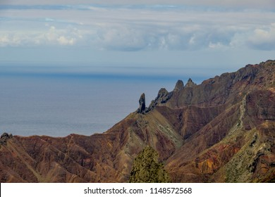 Unusual volcanic features of Sandy Bay area of St Helena Island including geological pillar landmarks of Lot and Lots Wife