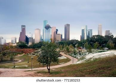 Unusual weather - snow in Houston, Texas, USA