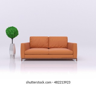 unusual white abstract scene with a orange sofa,vase, green tree on reflective floor. Beautiful minimalist concept,symbol of relaxation,freedom,openness of mind,spiritual attainment. 3d rendering