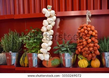 unusually beautiful kitchen decor vegetables flowerpots stock photo