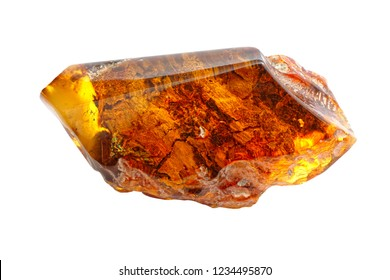Unusually beautiful piece of transparent amber of different colors on a white background. Patterns and inclusions in amber. Fossil fossilized resin of ancient trees. Natural mineral for jewelry. Stone