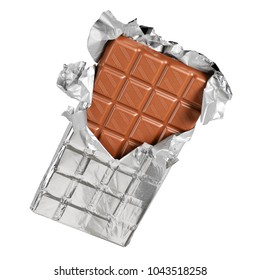 Unwrapped chocolate bar from foil isolated on white background with clipping path