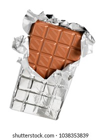 Unwrapping of chocolate bar from foil isolated on white background with clipping path