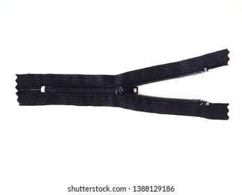 Unzip of black zipper isolated on white background. It made from fabric for adhesive with dress, shirt, skirt and etc. and plastic for zipper adhesive with each side.