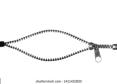 Unzip zipper or fastener. Isolated on white background. Copyspace