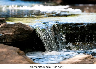 Up-close view of stream waterfall
