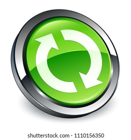 Update icon isolated on 3d green round button abstract illustration