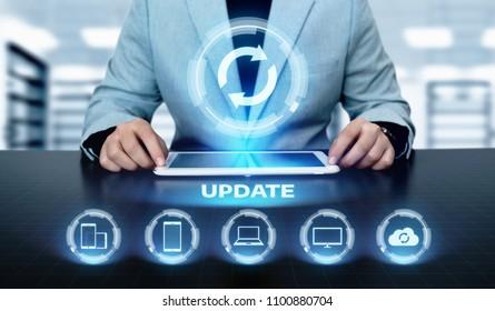 Update Software Computer Program Upgrade Business technology Internet Concept.