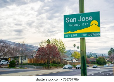 Updated San Jose, California city limit sign indicating population of over one million and founding year 1777