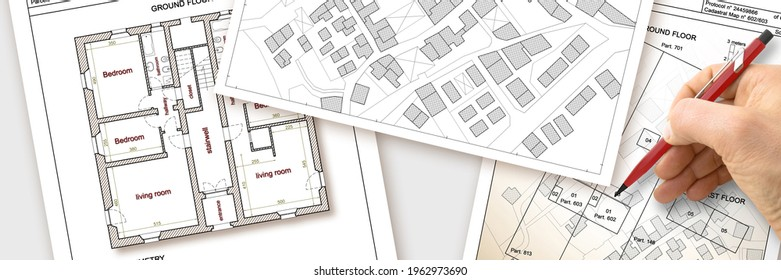 Updating public cadastral digital databases and information about land registry - concept image with an imaginary cadastral map of territory with buildings, roads and land parcel -
