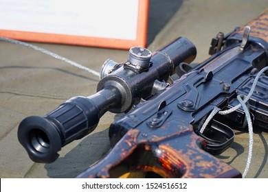 The upgraded Kalashnikov AK47 assault rifle with optical sight