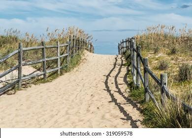 Uphill beach pathway at Sandbridge beach in Virginia Beach, Virginia.