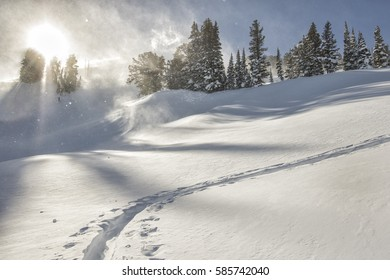 Uphill ski track on a windy day in the Tetons.  Photo in Wyoming in winter season.