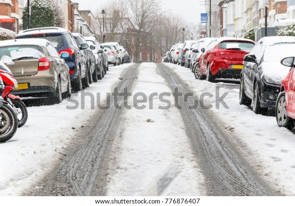 uphill street covered snow around west stock photo edit now 776876407 shutterstock