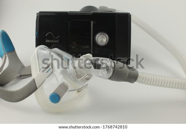 Upholland, Lancashire, UK, 03/07/2020: CPAP machine with adult full face mask for the treatment of sleep apnoea