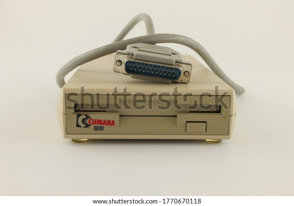 Upholland, Lancashire, UK, 06/07/2020: Cumana external 3.5 inch 880kb floppy drive for Amiga computers, isolated on white background