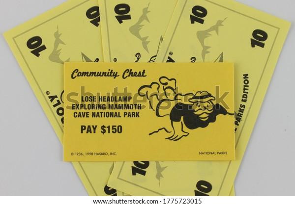 Upholland, Lancashire, UK, 14/07/2020: Monopoly money false gift concept