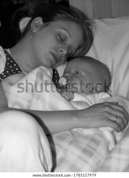 upholland, Lancashire, UK, 28/07/2020: mother and baby black and white photo
