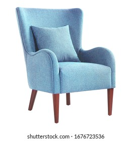 Upholstered Accent Chair Isolated on White. Modern Aqua Teal Blue Wingback Club Armchair with Pillow Upholstered Wing Armrests and Wooden Feet Side View. Interior Furniture. Turquoise Sofa Set