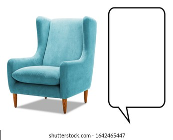 Upholstered Aqua Teal Wing Chair Isolated on White. Modern Light Blue Wingback Accent Club Armchair with Upholstered Armrests and Wooden Feet Side View. Interior Furniture. Turquoise Sofa Set