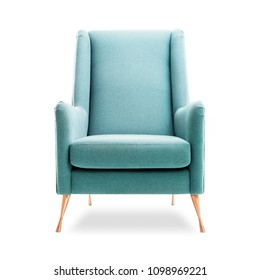 Upholstered Wingback Accent Chair with Copper Feet Isolated on White Background. Front View of Modern Teal Club Armchair with Upholstered Wings. Interior Furniture. Fabric Armchair with Armrests