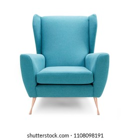 Upholstered Wingback Accent Wing Chair with Copper Feet Isolated on White Background. Front View of Modern Teal Brushed Plain Club Armchair with Upholstered Wings and Armrests. Interior Furniture