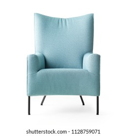 Upholstered Wingback Chair with Metal Feet Isolated on White Background. Front View of Modern Teal Club Armchair with Upholstered Wings. Interior Furniture. Turquoise Fabric Armchair with Armrests
