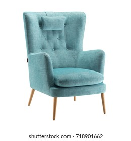 Upholstered Wingback Chair with Wood Legs Isolated on White Background. Modern Armchair with Wings and Casters on Front Legs. Interior Furniture. Fabric Arm Chair with Armrests